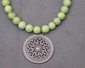 Necklace-Beaded Necklace-Beaded Stone Necklace-Jade Necklace-Copper Pendant Necklace-Copper Jewelry-Copper Necklace-Copper and Jade Jewelry-