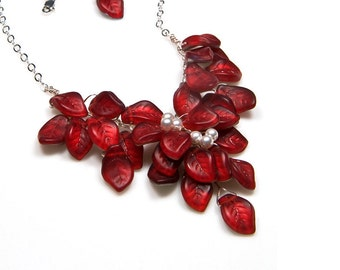 Red Beaded Leaf Necklace, Red Bridal Necklace, Red Bib Necklace, Red Floral Necklace, Small Statement Necklace