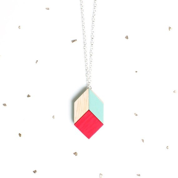 Mint & Neon Red Wooden Pendant / geometric puzzle pendant necklace made from wood tangram shapes on long silver chain - LAST ONE