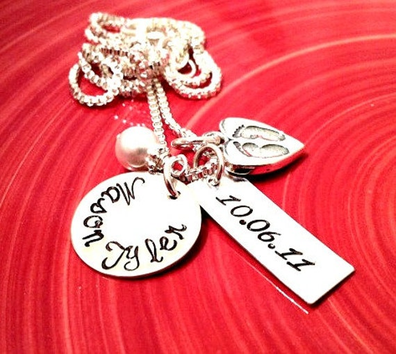 Personalized Necklace - Hand Stamped Mommy Jewelry - Name Disc, Date Disc, Sterling Heart with Tiny Prints, Swarovski Crystal Pearl