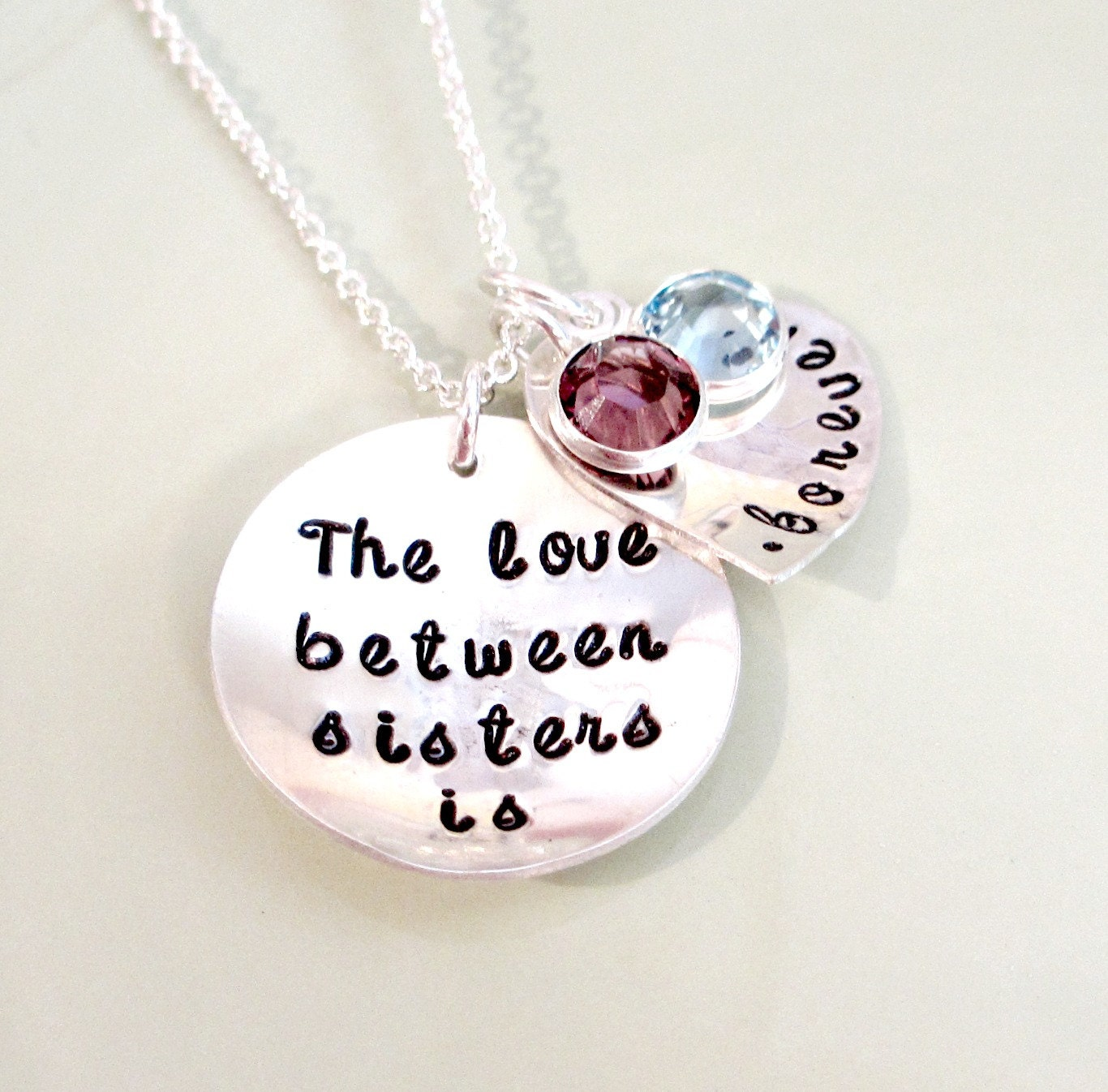 Sister necklace hand stamped sisters by foreverheartprints