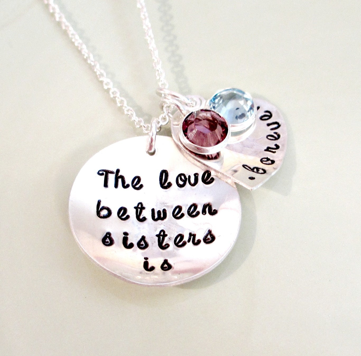 Sister Necklace Hand Stamped Sisters Jewelry Personalized