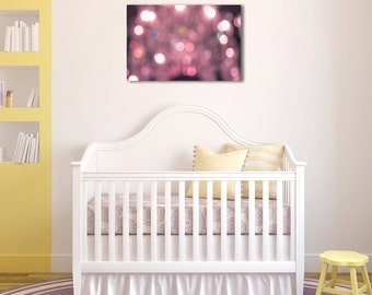 Baby Nursery Art- Pink Bokeh Canvas - 20x30 canvas gallery wrap - nursery room - home decor - large wall art - pink baby room