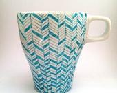 Hand-painted Coffee Mug - Blue & White