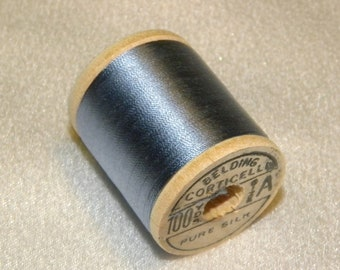 Belding Corticelli Pure Silk Hand Sewing Thread 100 Yd. Wooden Spool Shade 6770 Silvery Blue