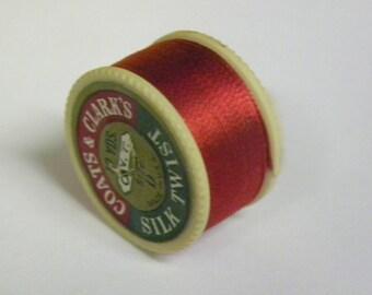 Vintage Coats & Clarks Pure Silk Twist Embroidery Buttonhole Silk Twist Thread Size D  10 Yd. Spool Shade 128 Lipstick Red