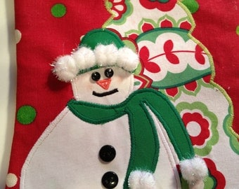 Ready to Ship.  Snow Lady and Tree  Christmas Stocking in Red/Green and Fully Lined