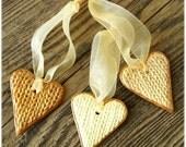 Ornaments set of 3 Hearts decoration Valentine decoration Wedding decor
