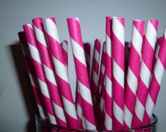 25 Hot Pink Striped Paper Straws- FREE DIY flags- Heavy Duty, Food Safe, Biodegradeable Straw