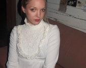 White 70s Dress Lace Crochet Victorian neck
