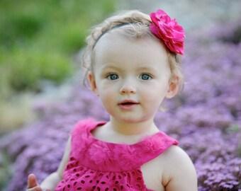 SALE - Baby headband - Newborn headband - Fuchsia flower headband - Photo prop