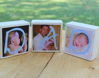 Dad Gift Personalized Gifts for Dad Gifts for Men Fathers Day Gift Wooden Photo Blocks Set of 3 blocks