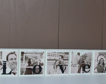 Unique Couples Gift Personalized PHOTO BLOCKS Home Decor Family Sign Wooden Picture Blocks Perfect Christmas Gift -Set of 5