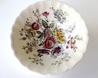 "Johnson Bros. Sheraton 8"" Vegetable Bowl, Ironstone with Floral Transferware"