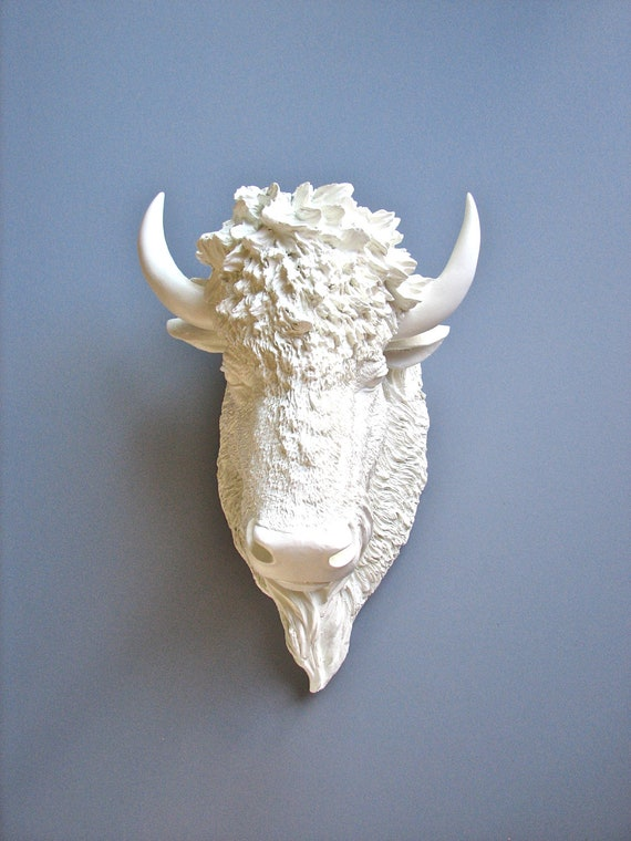 Faux Taxidermy Bison Head Wall Hanging: Bob the Bison
