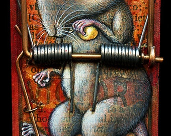 Creepy cute sad mouse art print 4.5x10, Victor's Victim: Pop surrealism animal print. Macabre painting, mousetrap oddity curiosity 4.5x10