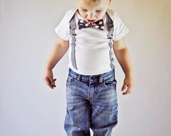 Baby Boy Bowtie & Suspender Bodysuit or shirt - Grey and White Polka Dot - Birthday, Baby Shower, Wedding