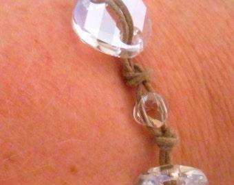 Swarovski clear crystal bracelet on tan waxed cotton cord