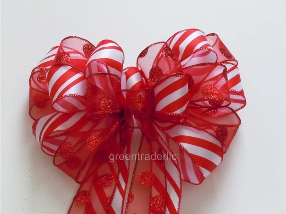 Red White Christmas Bow Christmas Candy Cane Tree Bow Christmas Polka dots Candy Canes Wreath Bow Red White Christmas Wreath Swag Bow