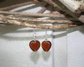 Brown glass heart earrings