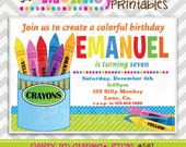 581: DIY - Colorful Crayons Boy Party Invitation Or Thank You Card