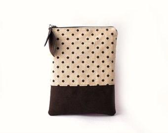 SALE iPad mini case, iPad mini sleeve, iPad mini cover, Chocolate brown , Polka dots