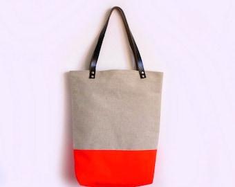 Large Tote bag, Canvas, Neon Orange, Leather Handles, Large tote bag, Casual tote, Day bag, Summer Tote bag