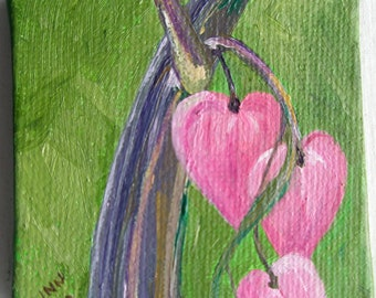 "3x3"" Bleeding Hearts Mini Oil Painting w/Easel"