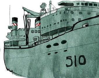 Royal Canadian Navy: ship print / nautical illustration