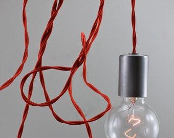 Raw Steel Red Modern Bare Bulb Pendant Light