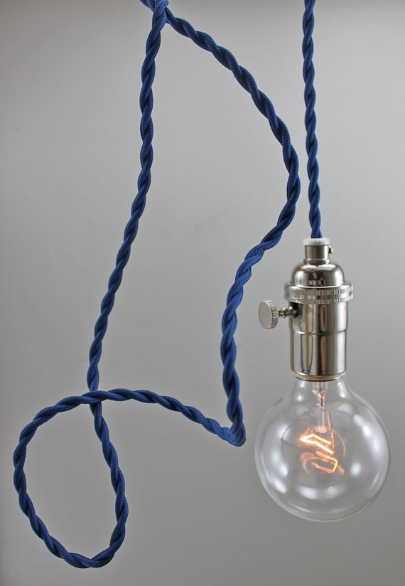 blue modern bare bulb pendant light by goldheartsupply on etsy. Black Bedroom Furniture Sets. Home Design Ideas