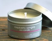 Raspberry Sangria Soy Candle Tin 4 oz. - raspberry candle - wine candle - sangria candle - fruit candle - summer candle - sweet candle