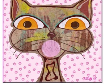 "Outsider Folk Art Cat Print, ""Bubble Gum Cat"", Original Sweet Ugly Cat Art Print, Comical Ugly Cute Outsider Cat Art by Windwalker Art"