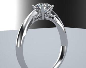 Classic inspired Diamond Solitare Engagement Ring 14K White Gold