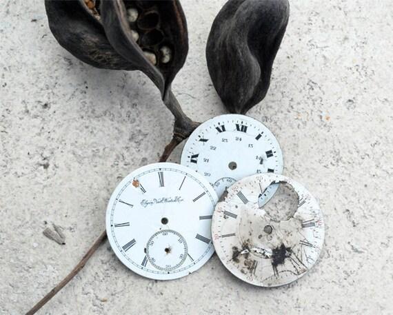 Antique Enamel Watch Faces, Set of Three Watch Pocket Watch Faces, Vintage Art Supplies, Round Watch Face, Steampunk Supplies, Watch Repair