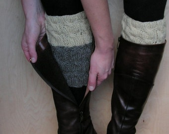 Hand knitted 2 ways to wear wool Women Boot cuffs/leg warmers Cable knit Natural grey Cream Colors