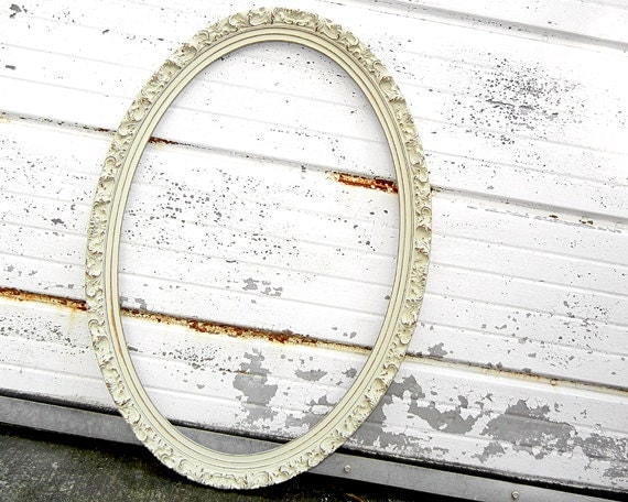 Extra Large Ornate Oval Frame Rustic Ivory Shabby Chic