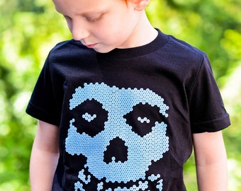 Kids Lite-Brite Misfits Glow In The Dark T Shirt by Hatch For Kids - Children's Clothing Crimson Ghost Rad Punk Tee - Size 2T 4T 6 8 10 12