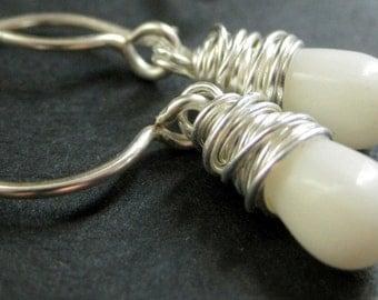 White Coral Earrings. Teardrop Earrings Wire Wrapped in Silver. Handmade Jewelry.