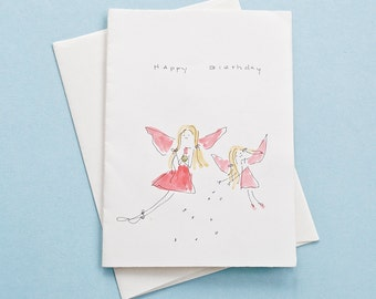 Happy Birthday (Angels)  - Watercolor Greeting Card