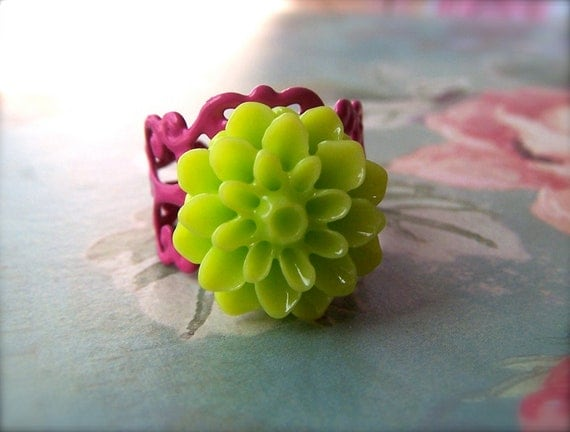 Chrysanthemum Ring, Resin Jewelry, Neon Green Flower Ring, Pink Filigree Base, Cute On Trend, Women's Jewelry