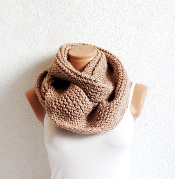 Women,Men infinity Scarf,Unisex ,infinity Scarf. Block Infinity Scarf. Loop Scarf, Circle Scarf, Neck Warmer. Coffee Beige Crochet Infinity