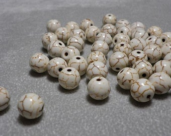 Off White Turquoise Howlite Smooth Round Beads 7mm-8mm