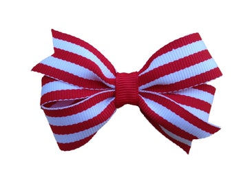 Red & white striped hair bow - red striped bow