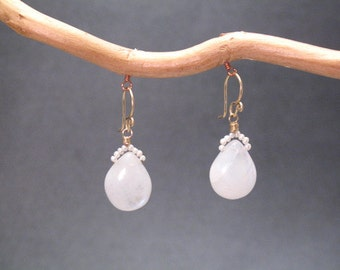 Tiny ivory pearls with moonstone Victorian 76