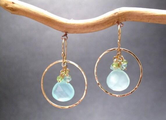 Hoops with peridot, apatite, and sea blue chalcedony Bohemian 74