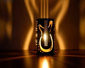 Rock & Roll Guitars -1049- Metal Candle Holder Luminary