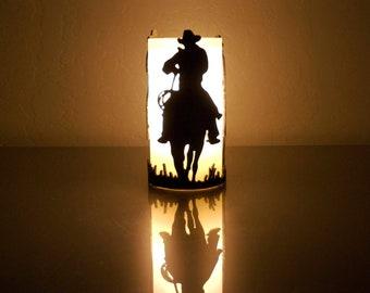 Riding Cowboys -1070- Metal Candle Holder Luminary