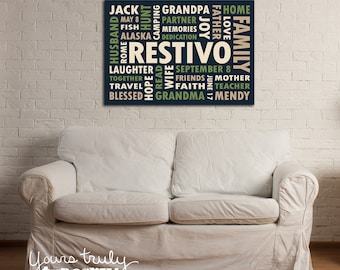 16x20 Canvas featuring Custom Typography Word Art - Your Words, Your Colors, Your Story - Great for Family, Wedding Gifts