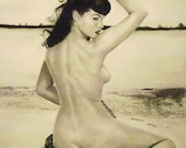 "Bettie Page limited series 8""x10"" charcoal print on high quality paper"